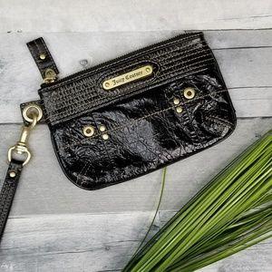 Juicy Couture Black Crinkle Patent Wristlet